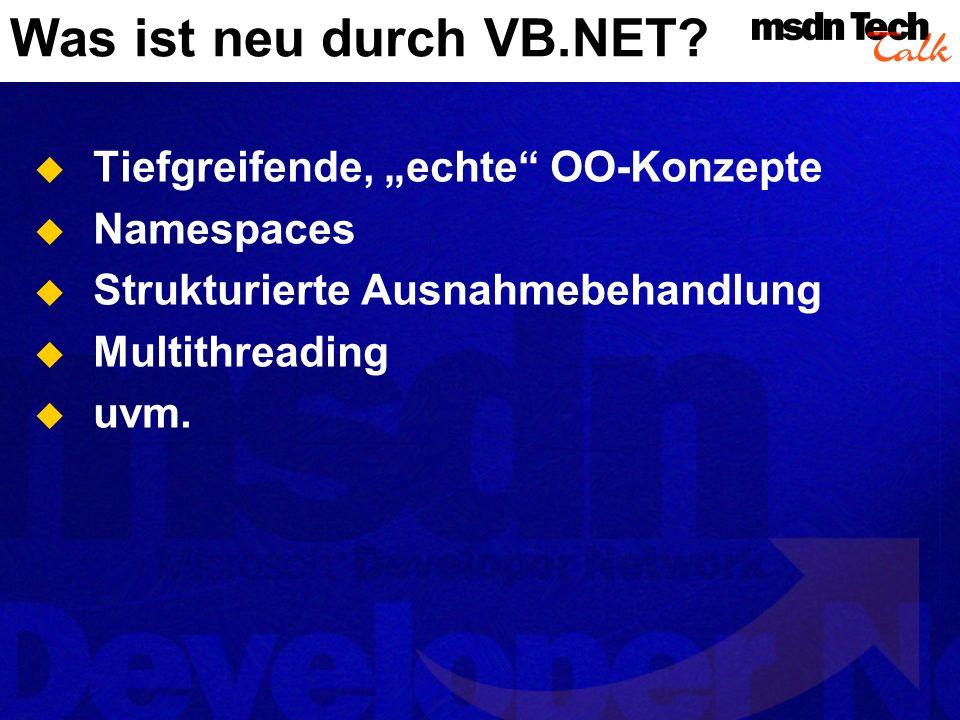 Was ist neu durch VB.NET.