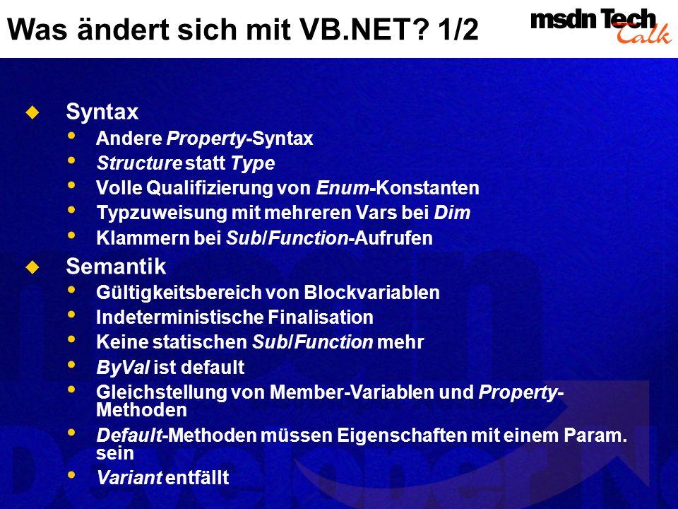 Was ändert sich mit VB.NET.