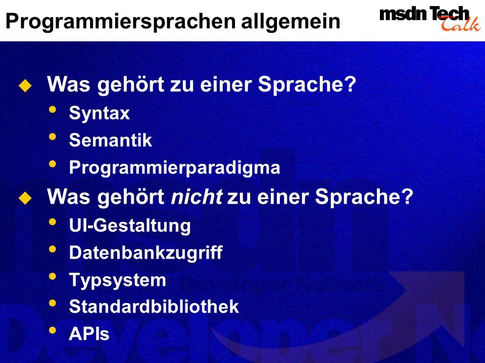 Programmiersprachen allgemein Was gehört zu einer Sprache.