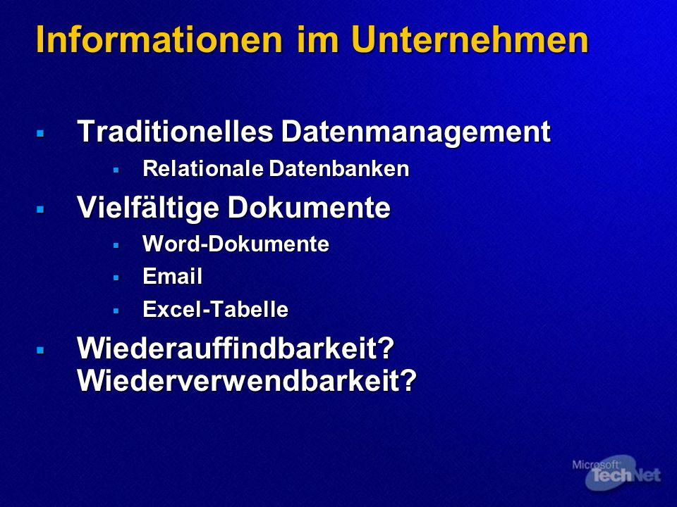 Informationen im Unternehmen Traditionelles Datenmanagement Traditionelles Datenmanagement Relationale Datenbanken Relationale Datenbanken Vielfältige Dokumente Vielfältige Dokumente Word-Dokumente Word-Dokumente Email Email Excel-Tabelle Excel-Tabelle Wiederauffindbarkeit.