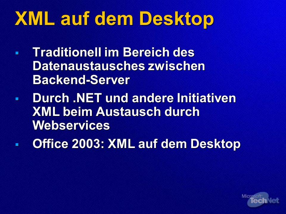 XML auf dem Desktop Traditionell im Bereich des Datenaustausches zwischen Backend-Server Traditionell im Bereich des Datenaustausches zwischen Backend-Server Durch.NET und andere Initiativen XML beim Austausch durch Webservices Durch.NET und andere Initiativen XML beim Austausch durch Webservices Office 2003: XML auf dem Desktop Office 2003: XML auf dem Desktop