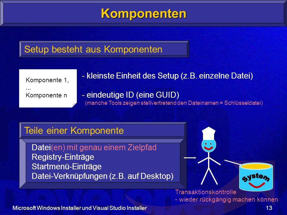 Microsoft Windows Installer und Visual Studio Installer13 Komponente 1,...