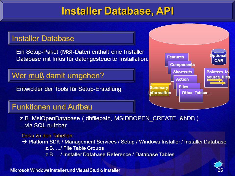 Microsoft Windows Installer und Visual Studio Installer25 Installer Database, API Wer muß damit umgehen.