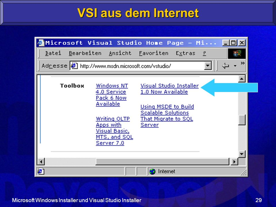 Microsoft Windows Installer und Visual Studio Installer29 VSI aus dem Internet