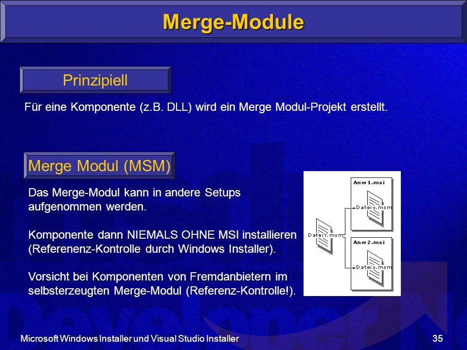 Microsoft Windows Installer und Visual Studio Installer35 Merge-Module Prinzipiell Für eine Komponente (z.B.