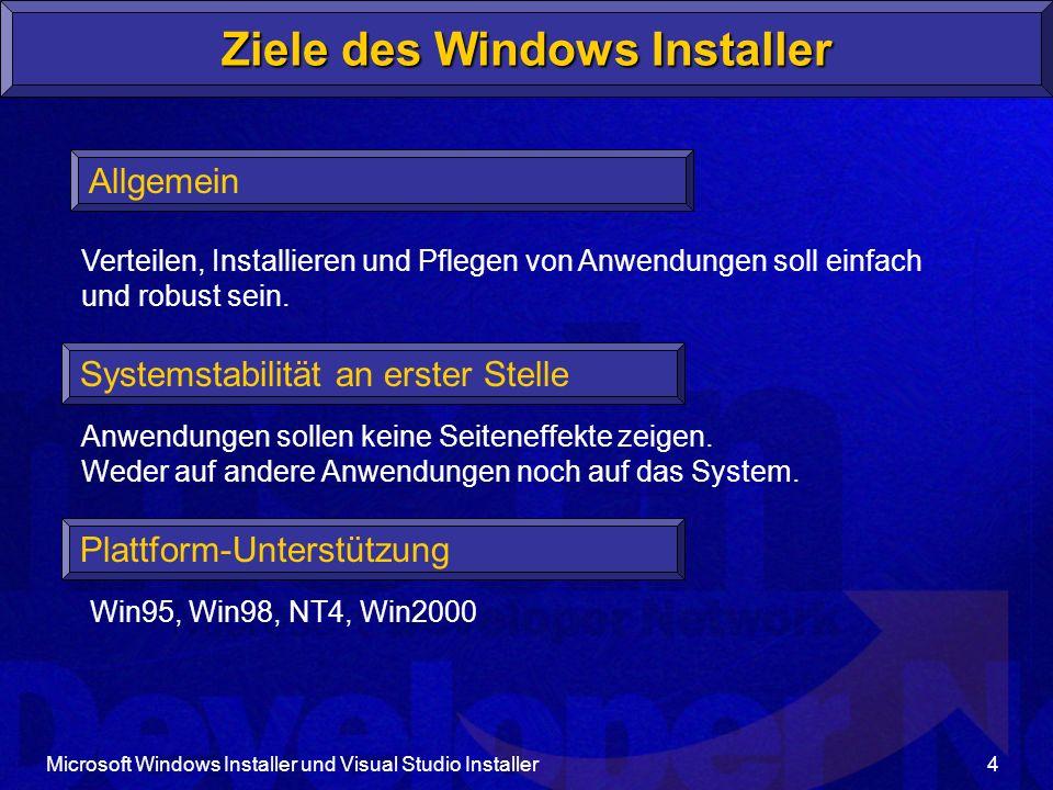 Microsoft Windows Installer und Visual Studio Installer5 Plattform-Unterstützung Win9x, NT4 Windows Installer evtl.