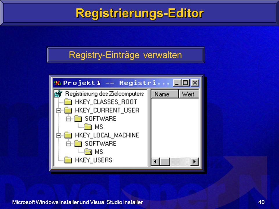 Microsoft Windows Installer und Visual Studio Installer40 Registrierungs-Editor Registry-Einträge verwalten