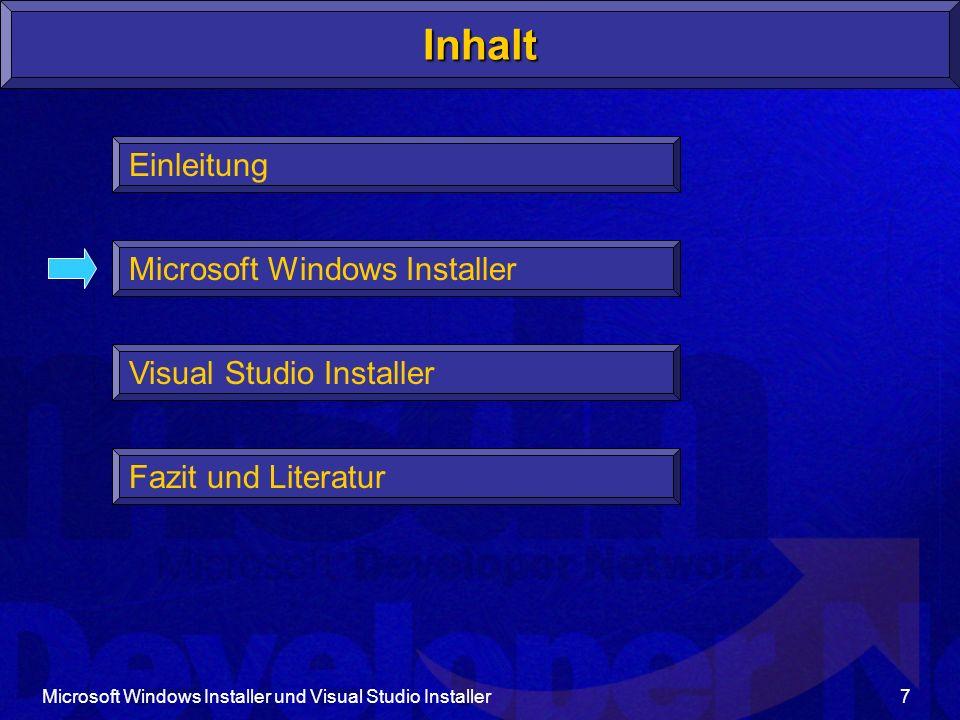 Microsoft Windows Installer und Visual Studio Installer18 Komponente 1,...