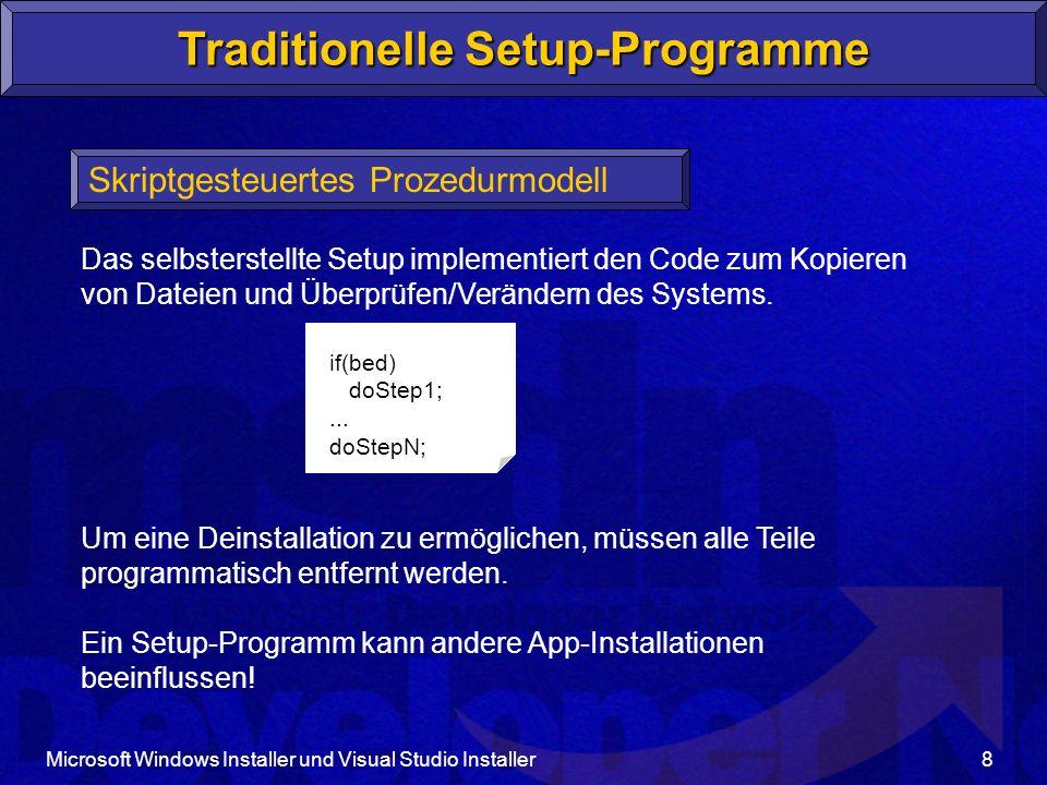Microsoft Windows Installer und Visual Studio Installer8 Traditionelle Setup-Programme Skriptgesteuertes Prozedurmodell Das selbsterstellte Setup implementiert den Code zum Kopieren von Dateien und Überprüfen/Verändern des Systems.