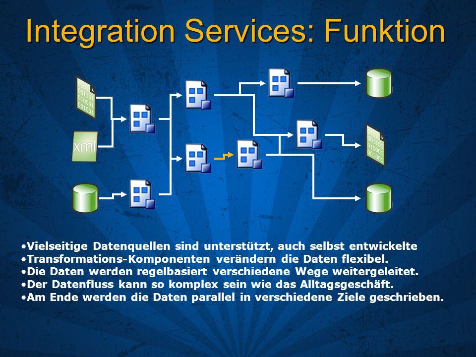 Integration Services: Funktion Vielseitige Datenquellen sind unterstützt, auch selbst entwickelte Transformations-Komponenten verändern die Daten flex