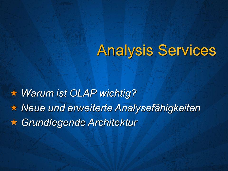 Analysis Services Warum ist OLAP wichtig? Warum ist OLAP wichtig? Neue und erweiterte Analysefähigkeiten Neue und erweiterte Analysefähigkeiten Grundl