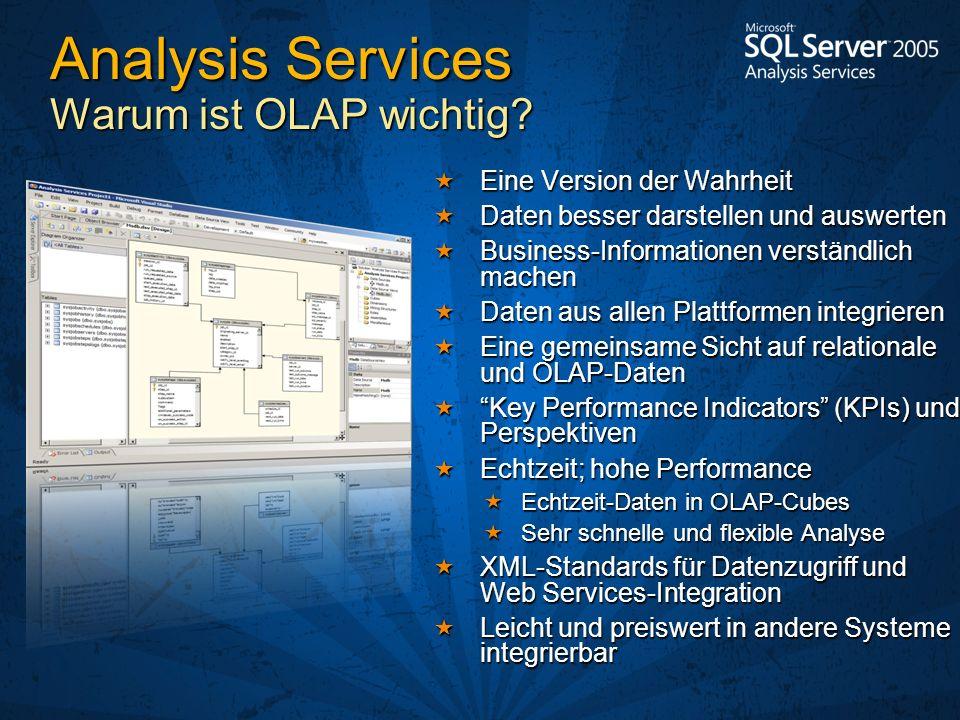Analysis Services Warum ist OLAP wichtig? Eine Version der Wahrheit Eine Version der Wahrheit Daten besser darstellen und auswerten Daten besser darst