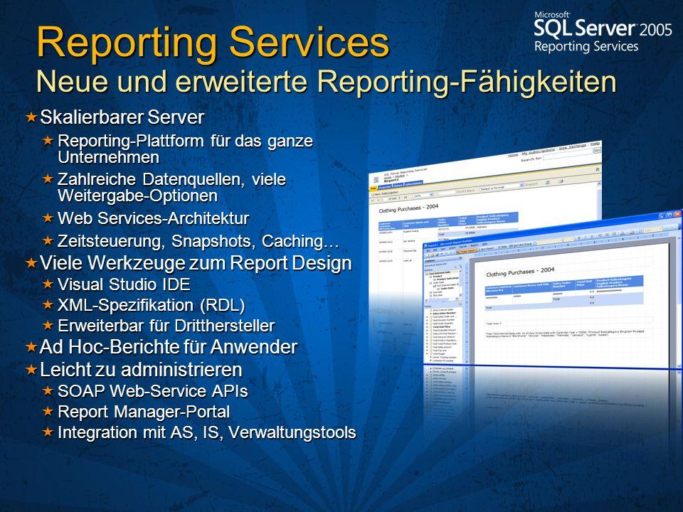 Reporting Services Neue und erweiterte Reporting-Fähigkeiten Skalierbarer Server Skalierbarer Server Reporting-Plattform für das ganze Unternehmen Rep