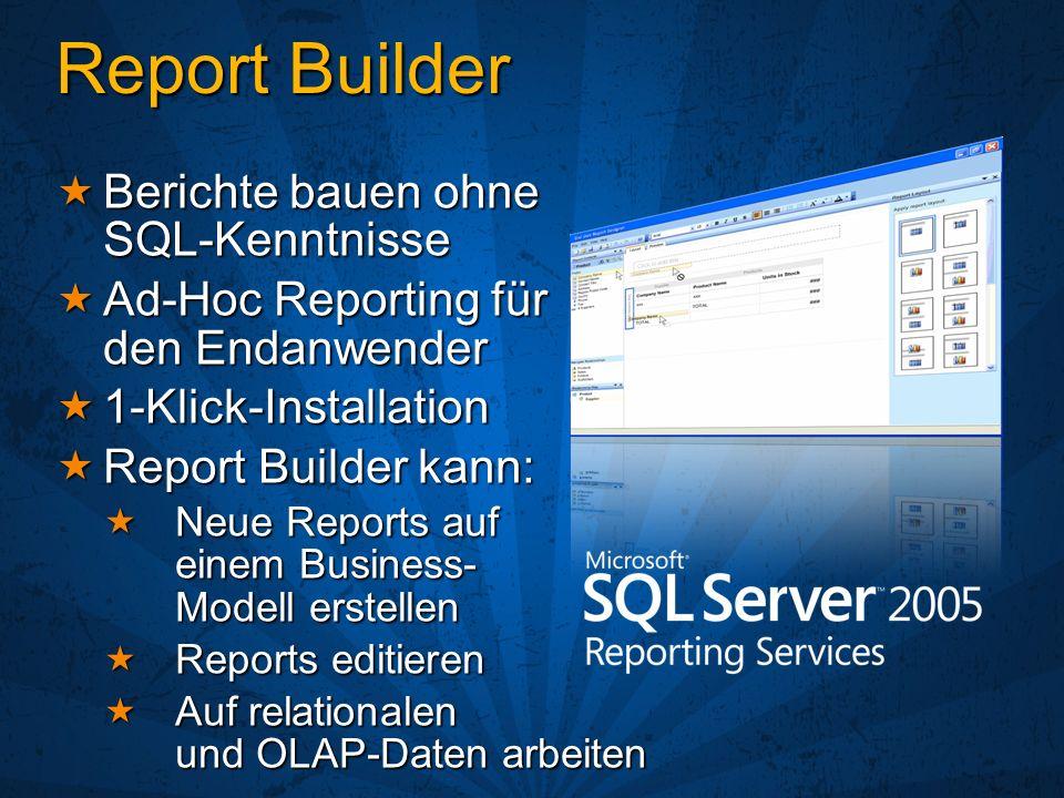 Report Builder Berichte bauen ohne SQL-Kenntnisse Berichte bauen ohne SQL-Kenntnisse Ad-Hoc Reporting für den Endanwender Ad-Hoc Reporting für den End