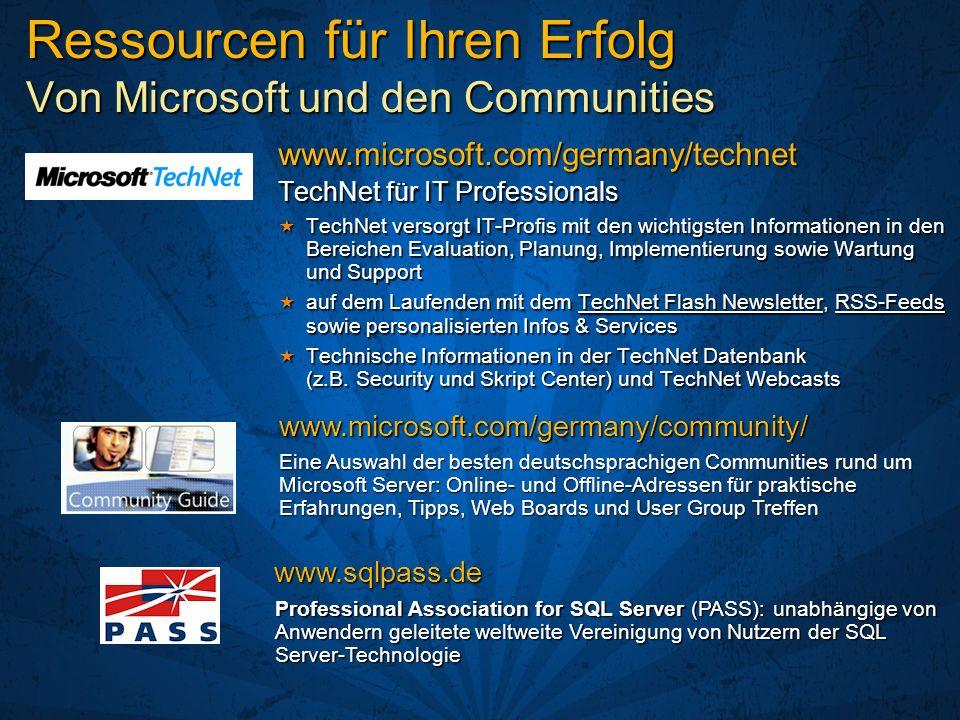 Ressourcen für Ihren Erfolg Von Microsoft und den Communities TechNet für IT Professionals TechNet versorgt IT-Profis mit den wichtigsten Informatione