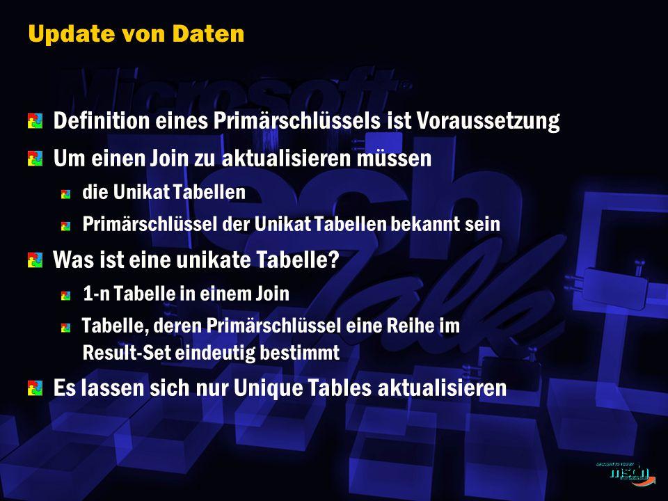 Update von Daten Definition eines Primärschlüssels ist Voraussetzung Um einen Join zu aktualisieren müssen die Unikat Tabellen Primärschlüssel der Unikat Tabellen bekannt sein Was ist eine unikate Tabelle.