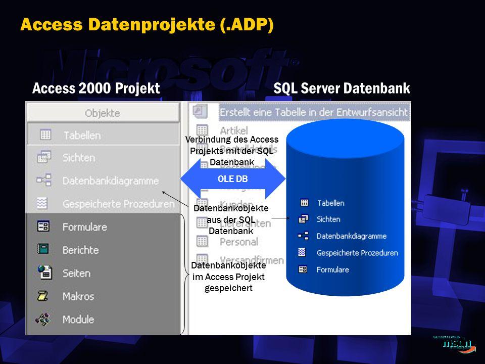 Access Datenprojekte (.ADP) Access 2000 ProjektSQL Server Datenbank OLE DB Verbindung des Access Projekts mit der SQL Datenbank Datenbankobjekte aus der SQL Datenbank Datenbankobjekte im Access Projekt gespeichert
