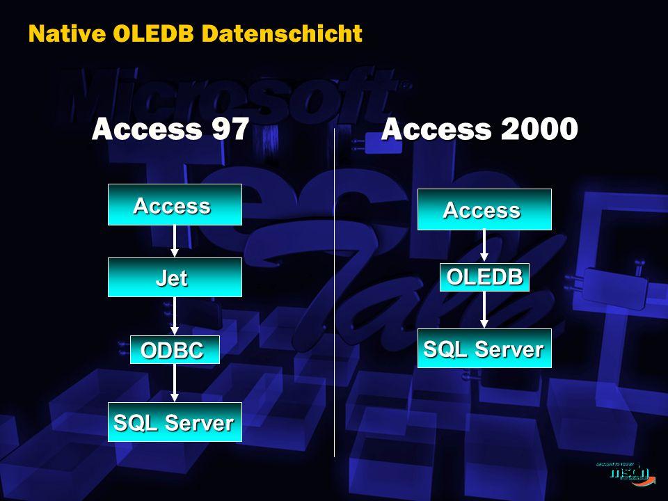 Access Jet SQL Server ODBC Access OLEDB Native OLEDB Datenschicht Access 97 Access 2000