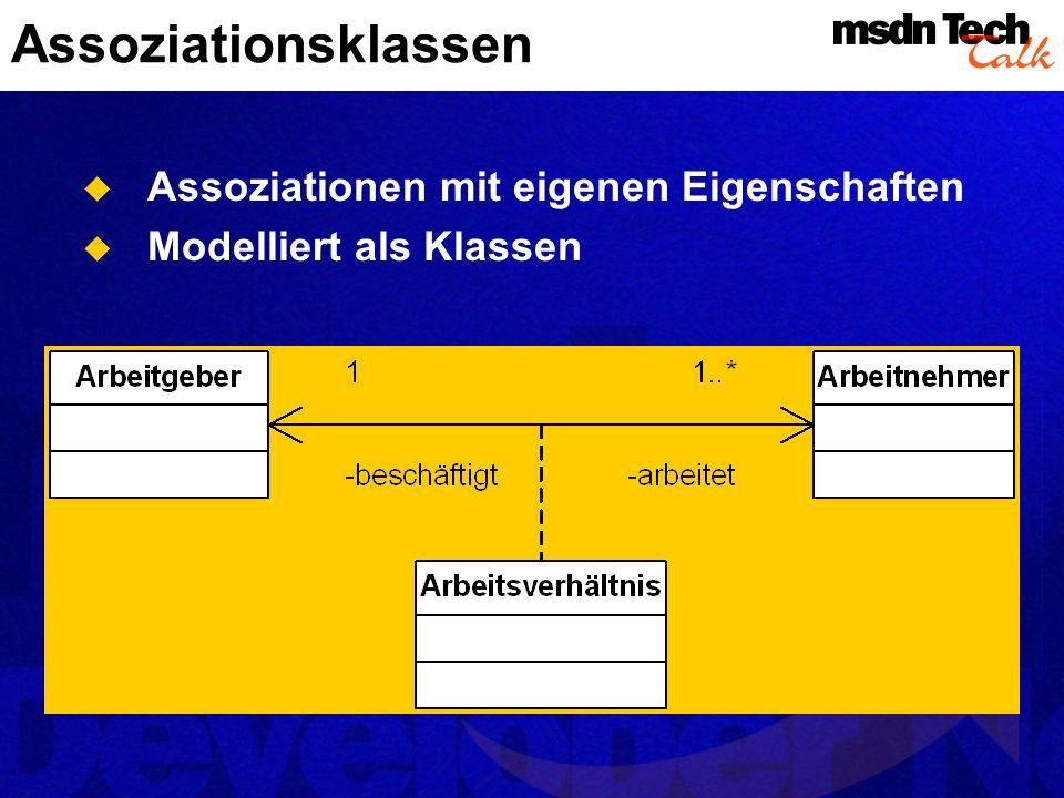 Aggregationen Integrale Bestandteile werden aggregiert Üblicherweise nur notwendige Teile Aggregation kann shared oder composite sein