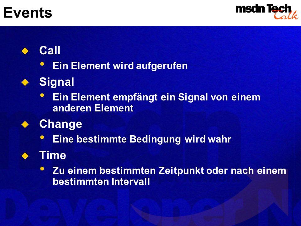 Events Call Ein Element wird aufgerufen Signal Ein Element empfängt ein Signal von einem anderen Element Change Eine bestimmte Bedingung wird wahr Tim