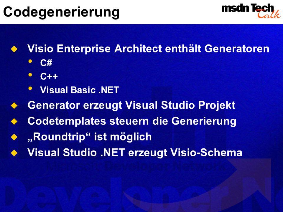 Codegenerierung Visio Enterprise Architect enthält Generatoren C# C++ Visual Basic.NET Generator erzeugt Visual Studio Projekt Codetemplates steuern d
