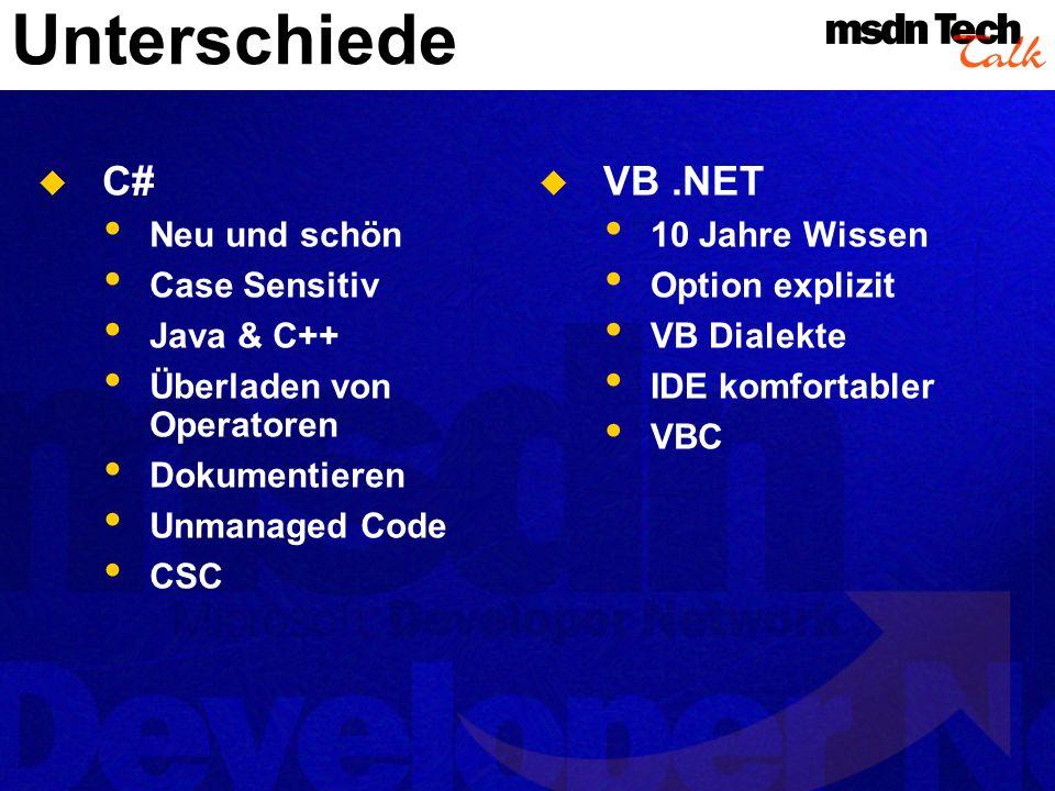 Unterschiede C# Neu und schön Case Sensitiv Java & C++ Überladen von Operatoren Dokumentieren Unmanaged Code CSC VB.NET 10 Jahre Wissen Option explizi