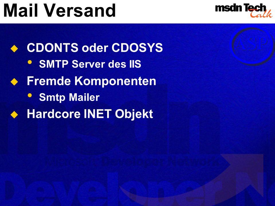 Mail Versand CDONTS oder CDOSYS SMTP Server des IIS Fremde Komponenten Smtp Mailer Hardcore INET Objekt