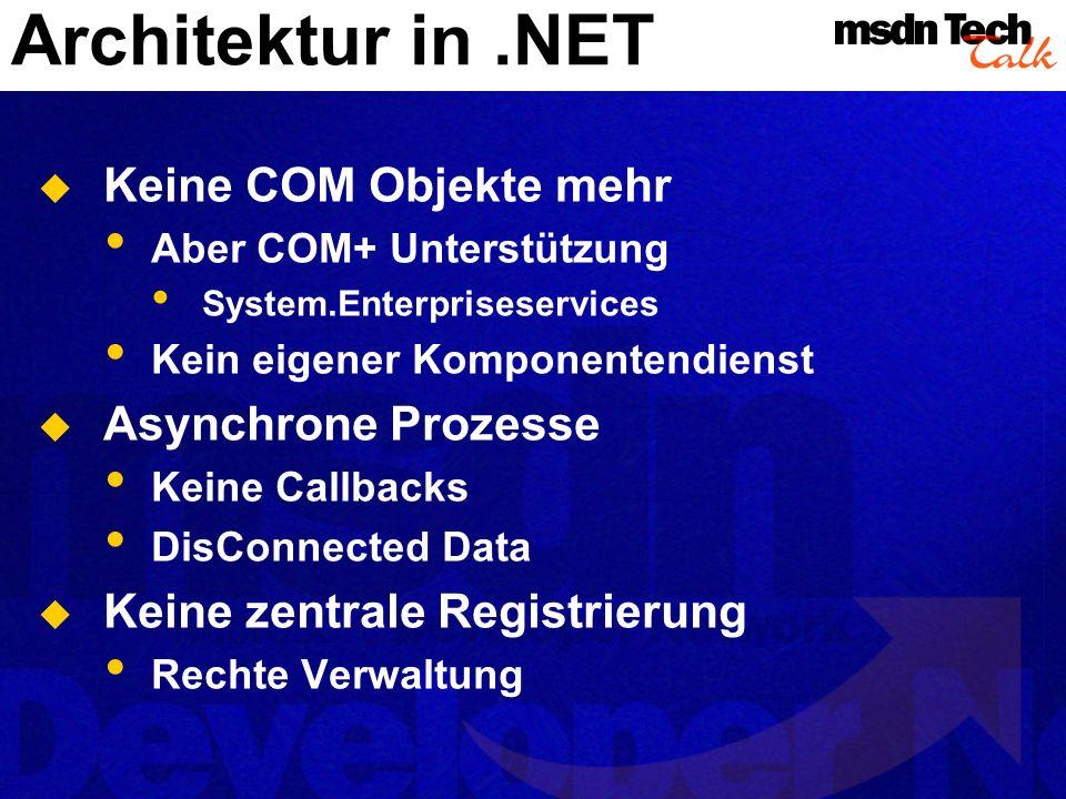 Architektur in.NET Keine COM Objekte mehr Aber COM+ Unterstützung System.Enterpriseservices Kein eigener Komponentendienst Asynchrone Prozesse Keine C