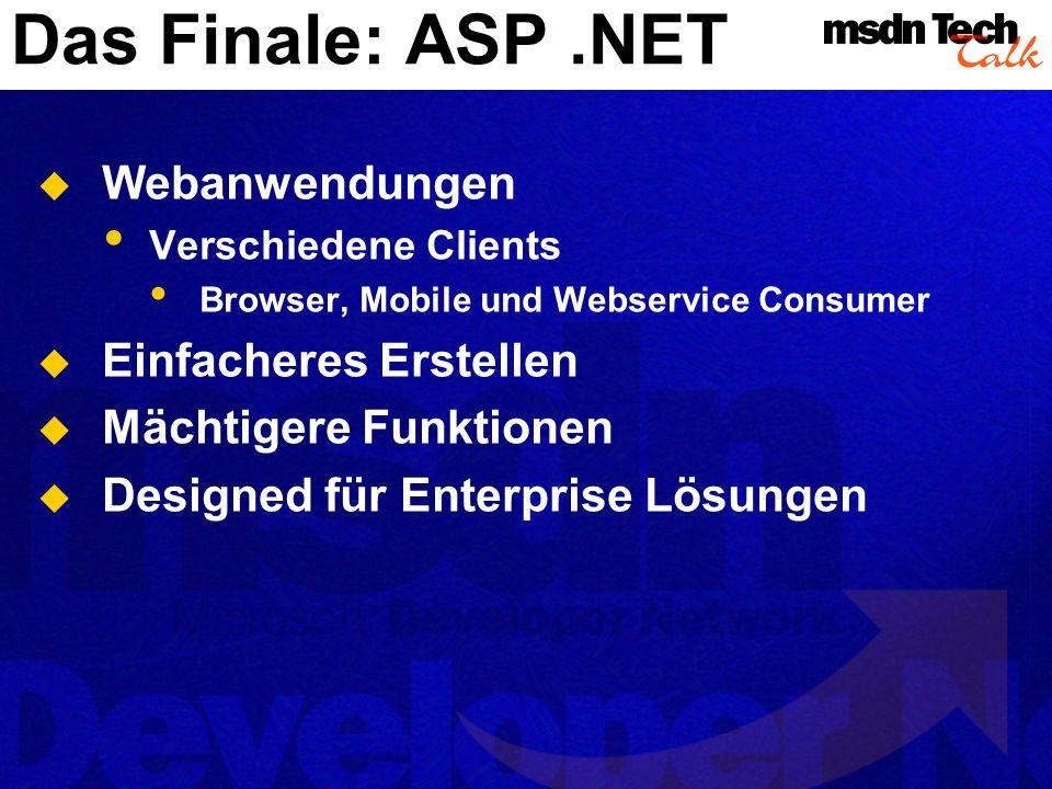 Das Finale: ASP.NET Webanwendungen Verschiedene Clients Browser, Mobile und Webservice Consumer Einfacheres Erstellen Mächtigere Funktionen Designed f