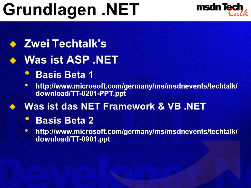 Architektur in.NET Datenbank Stored Procedures Datenzugriff ADO.NET Middle Tier COM Objekte über Wrapper einbinden Assamblies als COM Ersatz WebServices liefern Funktionalität Frontend Web Forms