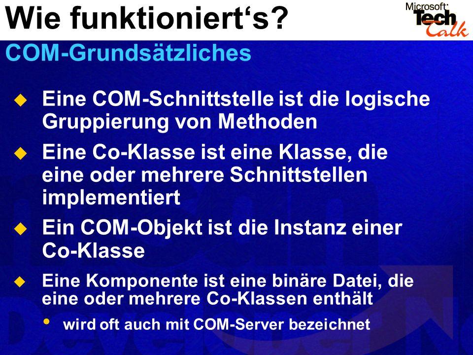 Eine COM-Schnittstelle ist die logische Gruppierung von Methoden Eine Co-Klasse ist eine Klasse, die eine oder mehrere Schnittstellen implementiert Ein COM-Objekt ist die Instanz einer Co-Klasse Eine Komponente ist eine binäre Datei, die eine oder mehrere Co-Klassen enthält wird oft auch mit COM-Server bezeichnet Wie funktionierts.