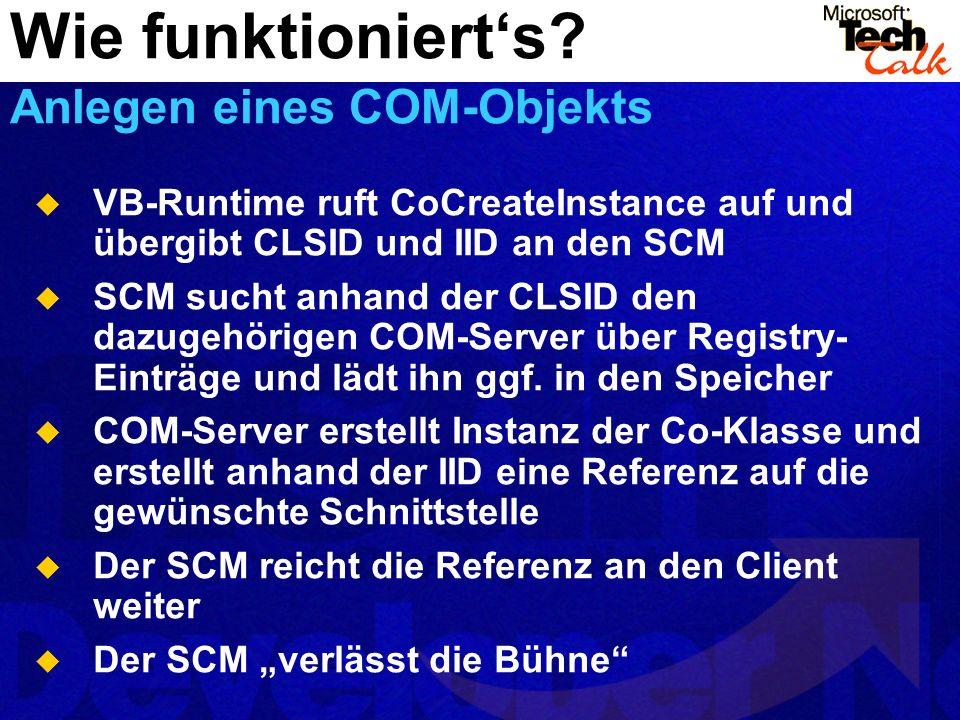 VB-Runtime ruft CoCreateInstance auf und übergibt CLSID und IID an den SCM SCM sucht anhand der CLSID den dazugehörigen COM-Server über Registry- Einträge und lädt ihn ggf.
