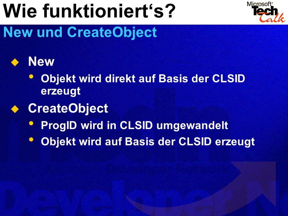 New Objekt wird direkt auf Basis der CLSID erzeugt CreateObject ProgID wird in CLSID umgewandelt Objekt wird auf Basis der CLSID erzeugt Wie funktionierts.
