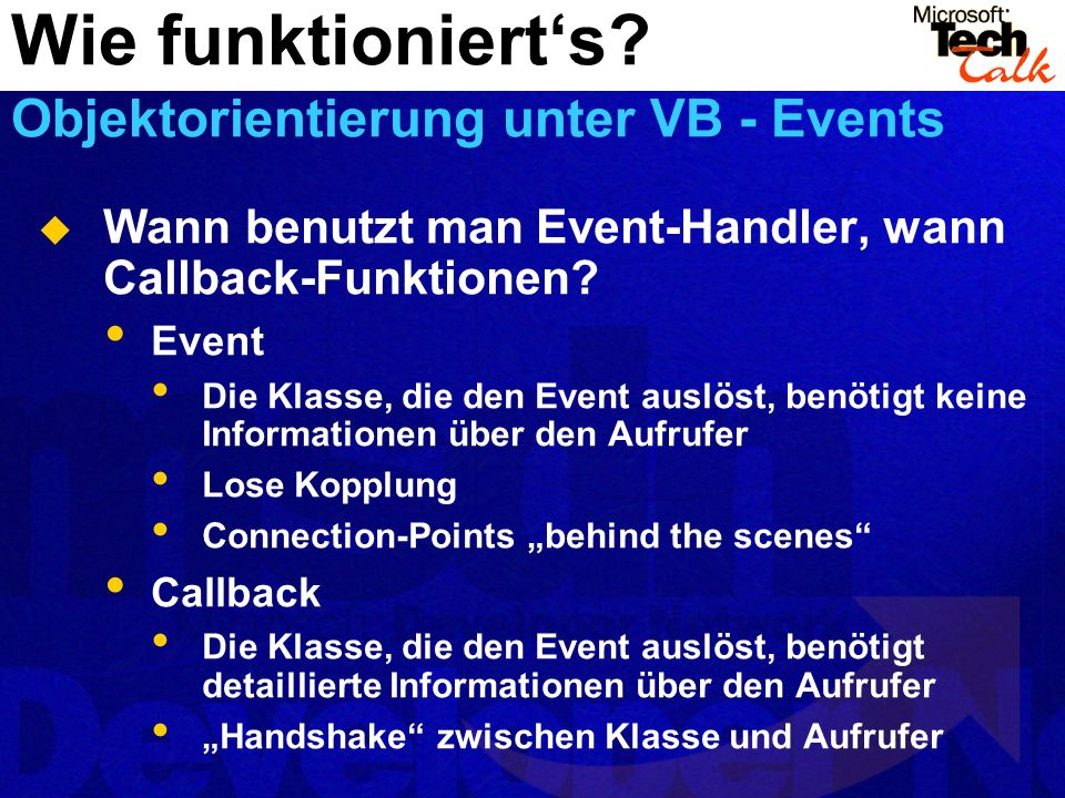 Wann benutzt man Event-Handler, wann Callback-Funktionen.