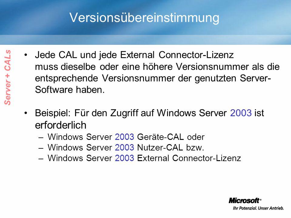 Versionsübereinstimmung Jede CAL und jede External Connector-Lizenz muss dieselbe oder eine höhere Versionsnummer als die entsprechende Versionsnummer der genutzten Server- Software haben.