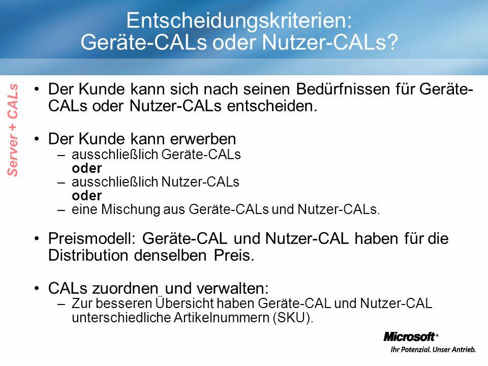 Entscheidungskriterien: Geräte-CALs oder Nutzer-CALs.
