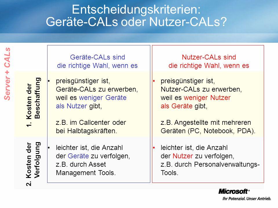 Entscheidungskriterien: Geräte-CALs oder Nutzer-CALs? Geräte-CALs sind die richtige Wahl, wenn es Nutzer-CALs sind die richtige Wahl, wenn es preisgün