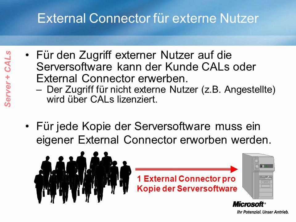 External Connector für externe Nutzer Für den Zugriff externer Nutzer auf die Serversoftware kann der Kunde CALs oder External Connector erwerben. –De