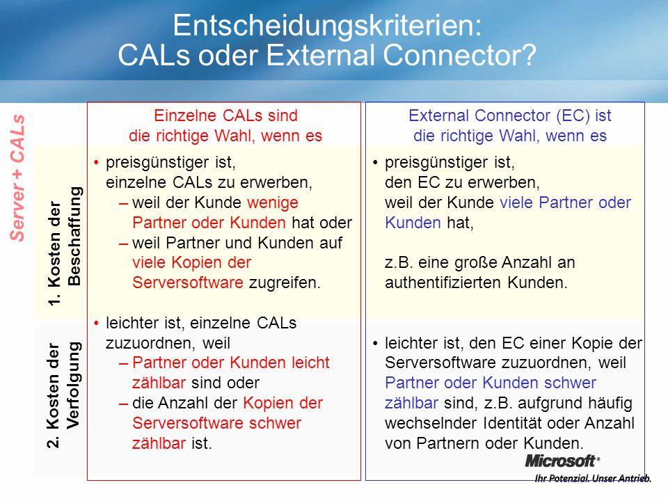 Entscheidungskriterien: CALs oder External Connector? Einzelne CALs sind die richtige Wahl, wenn es External Connector (EC) ist die richtige Wahl, wen