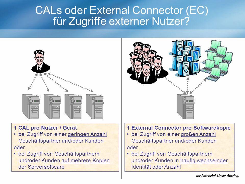 CALs oder External Connector (EC) für Zugriffe externer Nutzer.