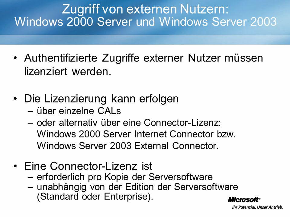 Zugriff von externen Nutzern: Windows 2000 Server und Windows Server 2003 Authentifizierte Zugriffe externer Nutzer müssen lizenziert werden.
