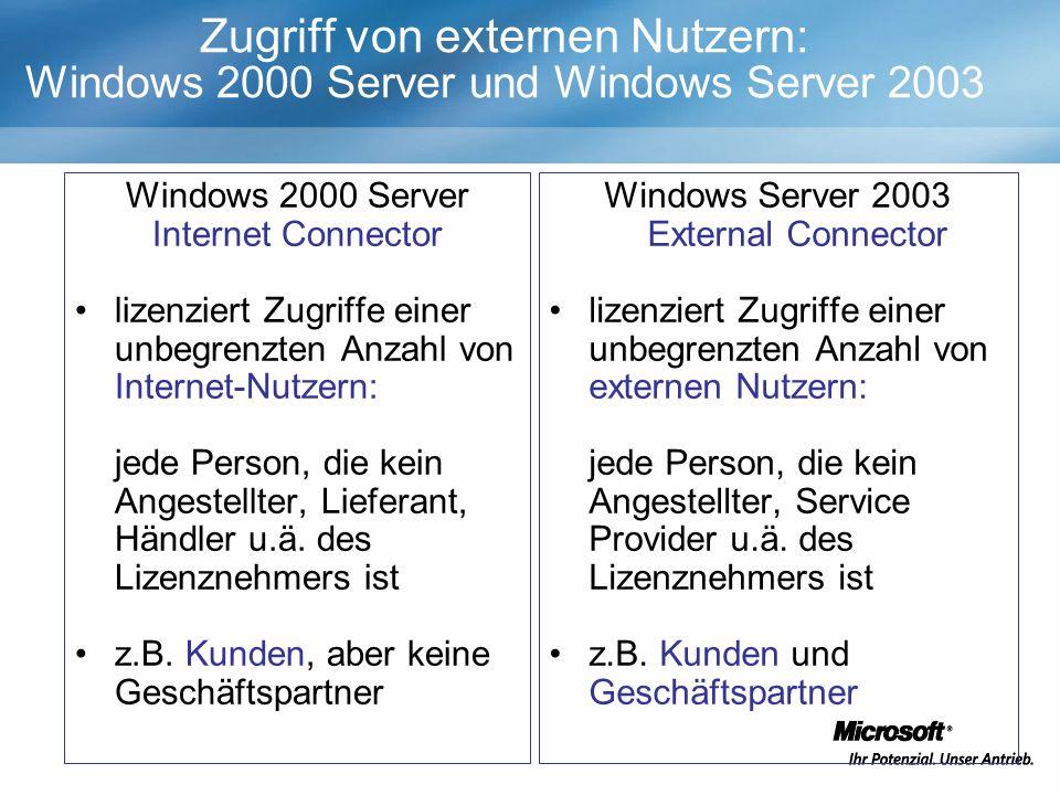Zugriff von externen Nutzern: Windows 2000 Server und Windows Server 2003 Windows 2000 Server Internet Connector lizenziert Zugriffe einer unbegrenzten Anzahl von Internet-Nutzern: jede Person, die kein Angestellter, Lieferant, Händler u.ä.