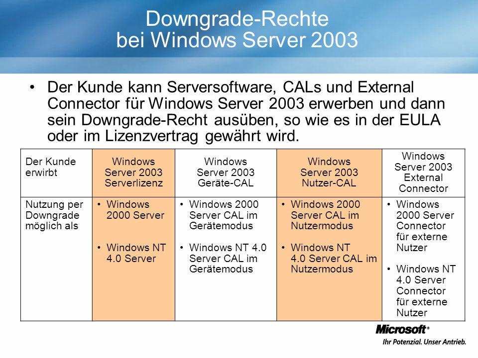 Downgrade-Rechte bei Windows Server 2003 Der Kunde kann Serversoftware, CALs und External Connector für Windows Server 2003 erwerben und dann sein Downgrade-Recht ausüben, so wie es in der EULA oder im Lizenzvertrag gewährt wird.