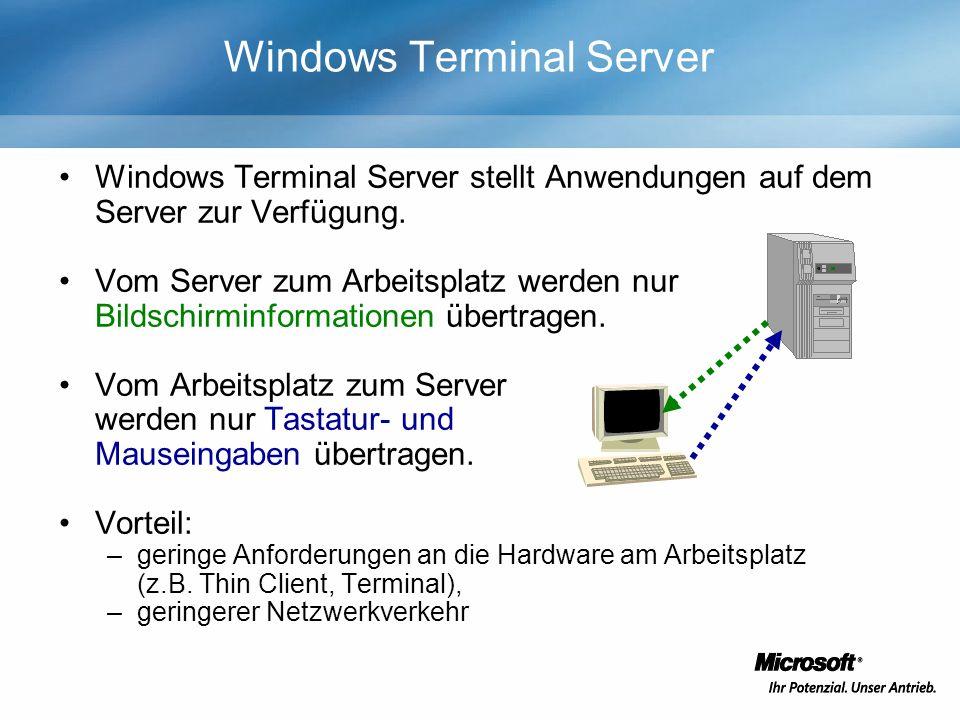 Windows Terminal Server Windows Terminal Server stellt Anwendungen auf dem Server zur Verfügung. Vom Server zum Arbeitsplatz werden nur Bildschirminfo