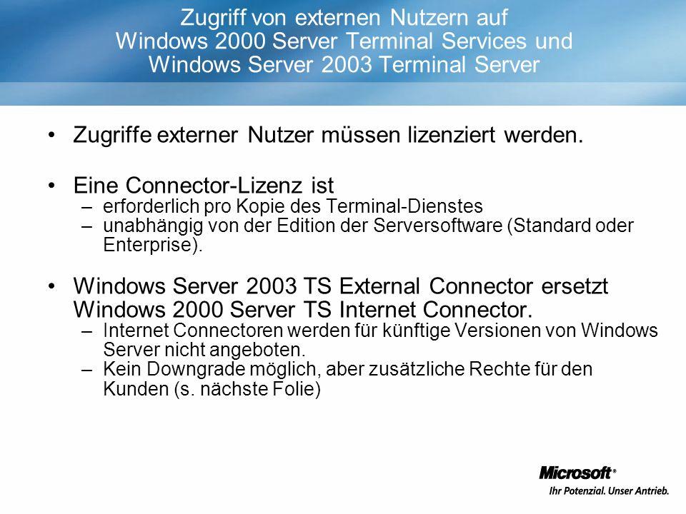 Zugriff von externen Nutzern auf Windows 2000 Server Terminal Services und Windows Server 2003 Terminal Server Zugriffe externer Nutzer müssen lizenziert werden.