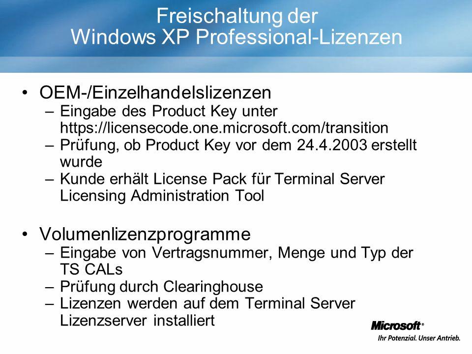 Freischaltung der Windows XP Professional-Lizenzen OEM-/Einzelhandelslizenzen –Eingabe des Product Key unter https://licensecode.one.microsoft.com/tra