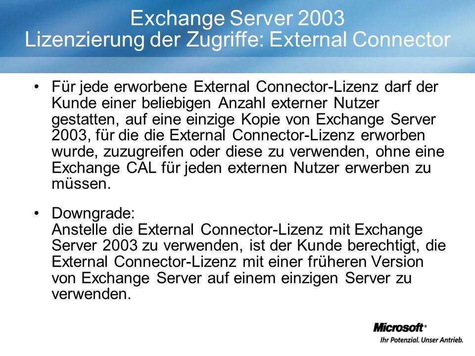 Exchange Server 2003 Lizenzierung der Zugriffe: External Connector Für jede erworbene External Connector-Lizenz darf der Kunde einer beliebigen Anzahl