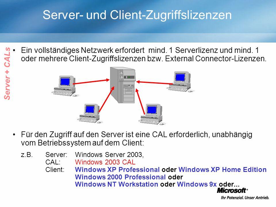 Server- und Client-Zugriffslizenzen Ein vollständiges Netzwerk erfordert mind. 1 Serverlizenz und mind. 1 oder mehrere Client-Zugriffslizenzen bzw. Ex