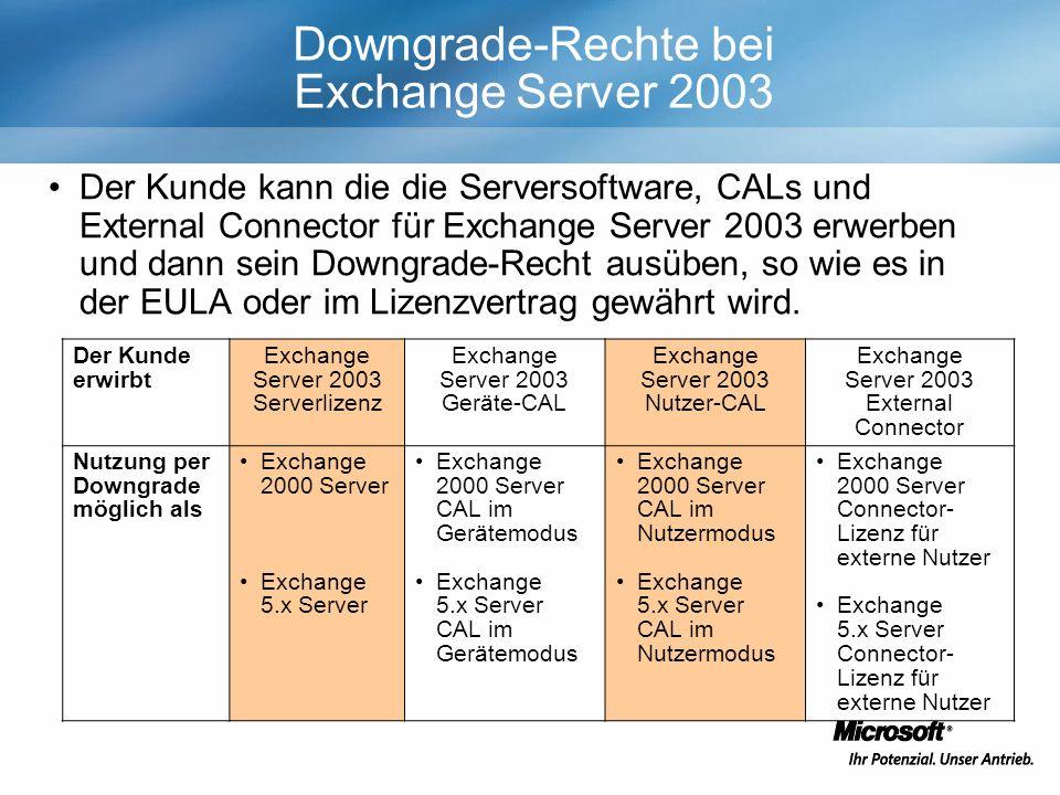 Downgrade-Rechte bei Exchange Server 2003 Der Kunde kann die die Serversoftware, CALs und External Connector für Exchange Server 2003 erwerben und dann sein Downgrade-Recht ausüben, so wie es in der EULA oder im Lizenzvertrag gewährt wird.