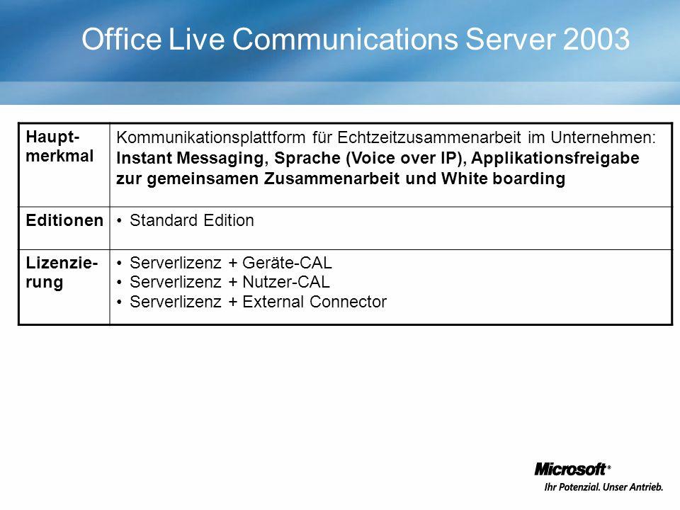 Office Live Communications Server 2003 Haupt- merkmal Kommunikationsplattform für Echtzeitzusammenarbeit im Unternehmen: Instant Messaging, Sprache (V